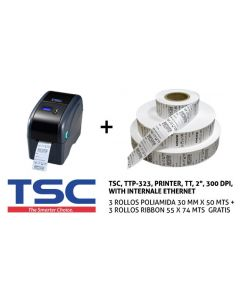 PRINTER TSC TTP-323 ETHERNET + 3R POLIAMIDA + 3 R RIBBON